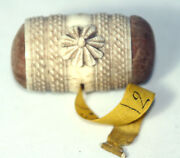 Antique C 1830and039shand Carved Napolian P-o-w Combo Tape Measure And Pin Cushion