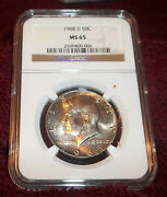 1968-d Ngc Ms65 Toned Kennedy Half Gorgeous Coin Pq 0-006 Nice Toning