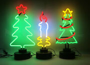 3 Christmas Neon Sign Sculpture Table Top Lamp Xmas Tree Candle Hand Blown Glass