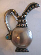 Sterling Silver Brooch Pin - Water Pitcher - 2 1/2 Long - .45 Oz - Nice -