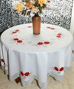 Vintage Christmas Embroidered Poinsettia Tablecloth Oblong/round W/napkins