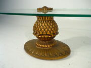 50and039s Mid 20th Century Hollywood Regency Gilded Pineapple Glass Table Mont Era