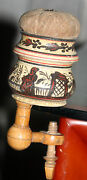 Antique Hand Painted Chinoiserie Wood Clamp, Pin Cushion And Threader W/ Mirror
