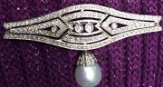 Vintage Culture Pearl And Diamond Pin / Brooch 18kt Gold, 14.7 Grams