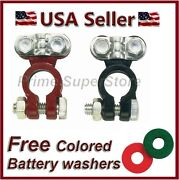 New Set Of 2 Top Post Color Coded Red And Black Battery Terminals Auto/car Washers