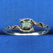 Natural Emerald Mythological Stone Protector Critters Ring Hand Crafted Silver