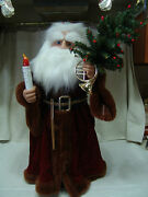 Vintage Large Father Time W/light/christmas Tree/motion 24t Nice
