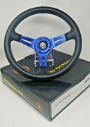 Boat Steering Wheel W/ Adapter 3 Spoke Boats With A 3/4 Tapered Key Marine Blue