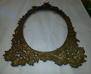 Antique Victorian Style Gold Ornate Cast Iron Mirror Frame
