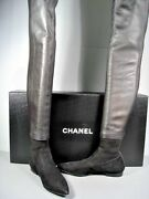 Black Leather Suede Over The Knee Thigh High Pointy Toe Flats Boots 37.5
