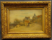 Impressionist Landscape With View Of The City By Randeacutemy E. Landeau. Signed.