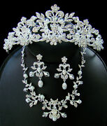 Silver Crystal Couture Wedding Bridal Quinceanera Tiara Necklace Jewelry Set