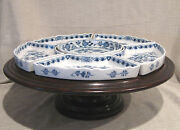 Meissen 17 Six Part Revolving Lazy Susan With Wooden Base Crossed Swords Mark
