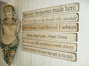 Large Shabby Chic Signs Antique Nautical Vintage Sea Looking Home Beach Hut