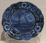 19th Century Clews Flow Blue 7 3/4 Plate A Winter View Of Pittsfield Mass