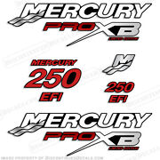 Mercury 250hp Pro Xb Limited Edition Outboard Engine Decal Kit 250hp Decals Red