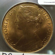 1860 Great Britain Penny – Ms 65 Rb – Rare Double Die Obverse