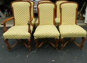 Set Of 6 Queen Anne Style Hand Carved Upholstered Dining Chairs 1 Captain 5 Side