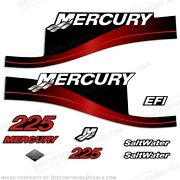 Mercury 225hp Saltwater Series Outboard Decal Kit 1999-2004 - Red