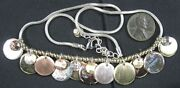 Nice Vintage Silvertone Snake Chain With Coin Like Charms Necklace Lc Lauren Cor