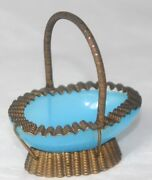 Blue Opaque Glass Basket C1800antique Frilly Edge Hand Stamped Thimble Holder