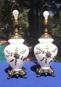 Pair Antique Brass And White Porcelian Leaf Design Globe Table Lamps