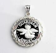 .999 Pure Silver Guardian Angel Coin 22mm In S/s Diamond-cut Rope Pendant