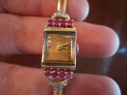 1920and039s 14k Rose Gold And Diamonds And Rubies National Ladiesand039 Watch - Works Great