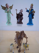 Antique Nativity Shepherd - Angel - King - Camel - 2 Goats - Made In Italy