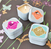 Personalized Themed Square Or Round Candle Tin Bridal Shower Wedding Favor