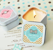 Personalized Themed Square Or Round Candle Tin Baby Shower Favors Boy Or Girl