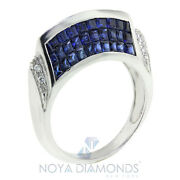 3.15 Carat Natural Sapphire And Diamond Cocktail Ring Set In 18k