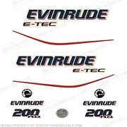 Evinrude 200hp E-tec H.o. Outboard Decal Kit - 2004 2005 2006 2007 2008 High Out