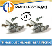 Chrome Plated Rear Fixing And039tand039 Lock / Handle Trailer Caravan Canopy Toolbox X2