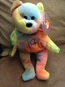 Original Ty Beanie Baby-peace Bear-mint Condition-with Tags-rare Spelling Errors