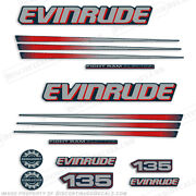 Evinrude 135hp Bombardier Outboard Decal Kit - Blue Cowl Engine 2002-2006