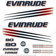 Evinrude 90hp Bombardier Outboard Decal Kit - 2002-2006 Engine Stickers