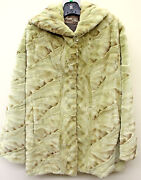 Ladies Olive Green Sheared Mink Sections Hooded Stroller Jacket 31