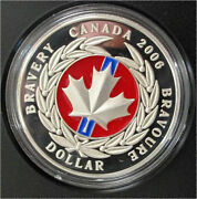 2006 Canada Silver Dollar Red Enamel Proof Medal Of Bravery Rare