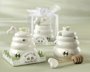 25 Meant To Bee Ceramic Honey Pot With Dipper Wedding Bridal Shower Favors