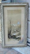 Antique 19c J.hoover Chromolithograph Winter Scene With Snow On Bridge Andcottage