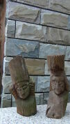 Pair Antique 19c Hawaiian Folk Art Wood Carved Figures,statues Candle Holders