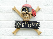 Keep Out Sign - Pirate Skull And Crossbones - Wooden Door Wall Hanging Bandana