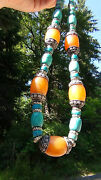 Antique Chinese Large Turquiose Amber Colored Bone Necklace Pendant