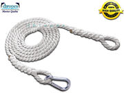 Jet Ski, Recovery Tow Rope Nylon 3/8 X 20' W/ Eyes And Snap Hook Ts. 3700 Lbs
