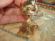 18kt Solid Gold Kitty- Cat Brooch W/ Emeralds And Ruby-gorgeous 21.7 Gr Rare.