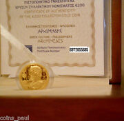 Greece 200 Euro 2015 Archimedes Gold Proof Rare Only 750 Pieces Box Certificate