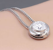 14k White Gold Round Diamond Bezel Solitaire Necklace And Chain 0.75ct H-si1 Egl
