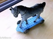 1920s Painted Tin Pull Toy Of Horse On Wheels