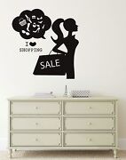 Wall Decal I Love Shopping Fashion Women Clothing Store Vinyl Stickers Ig2720